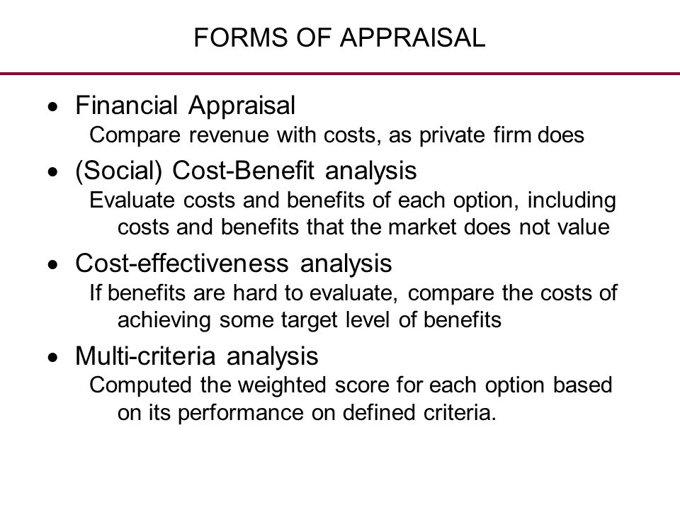 (Social) Cost-Benefit analysis