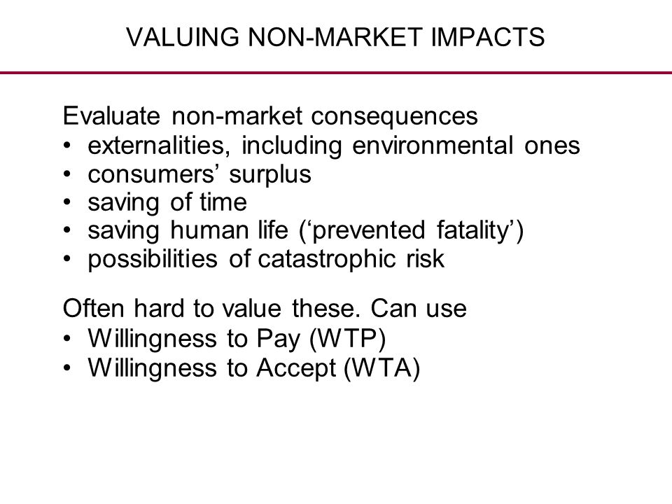 VALUING NON-MARKET IMPACTS