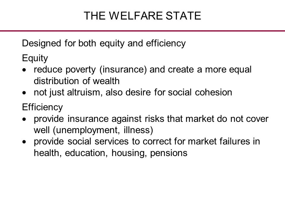 THE WELFARE STATE Designed for both equity and efficiency Equity