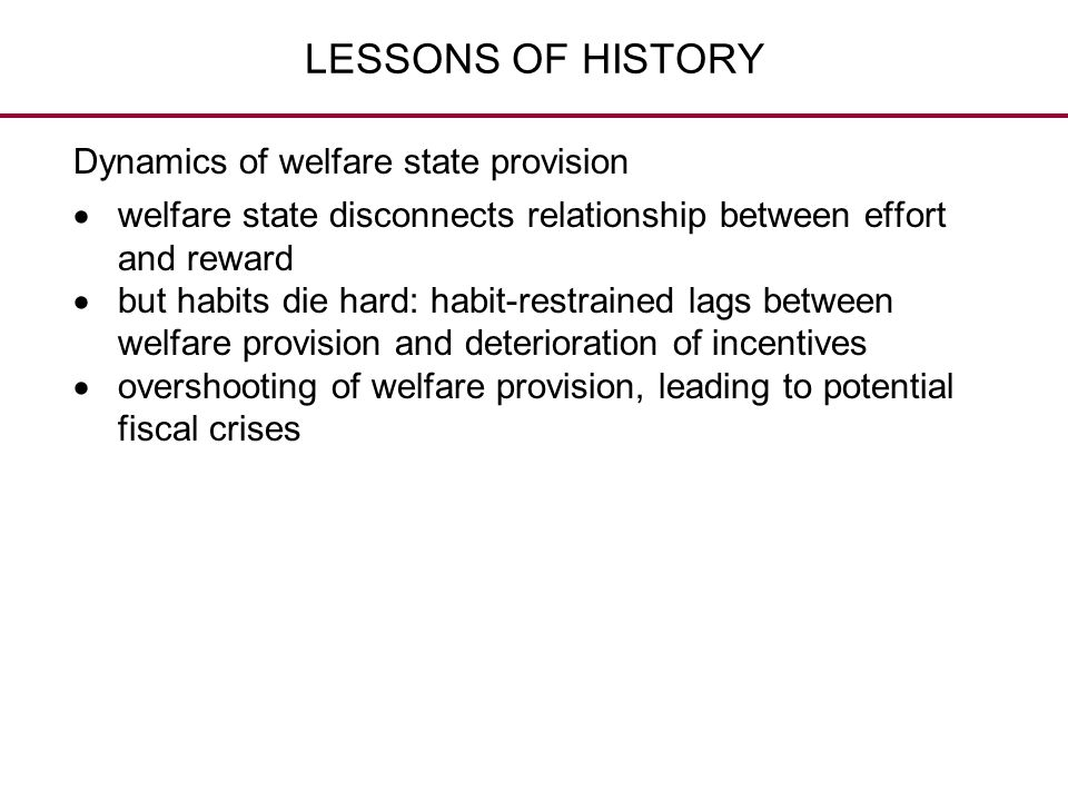 LESSONS OF HISTORY Dynamics of welfare state provision