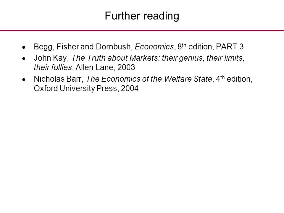Further reading Begg, Fisher and Dornbush, Economics, 8th edition, PART 3.
