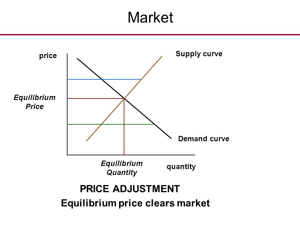 Market PRICE ADJUSTMENT Equilibrium price clears market Supply curve