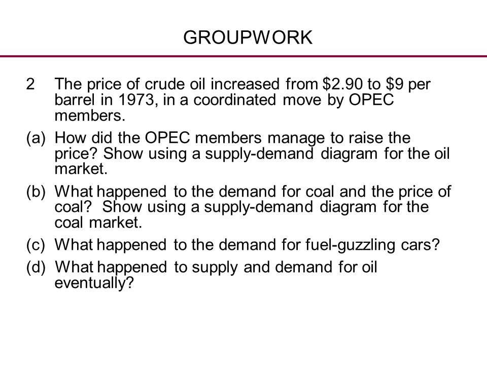GROUPWORK The price of crude oil increased from $2.90 to $9 per barrel in 1973, in a coordinated move by OPEC members.