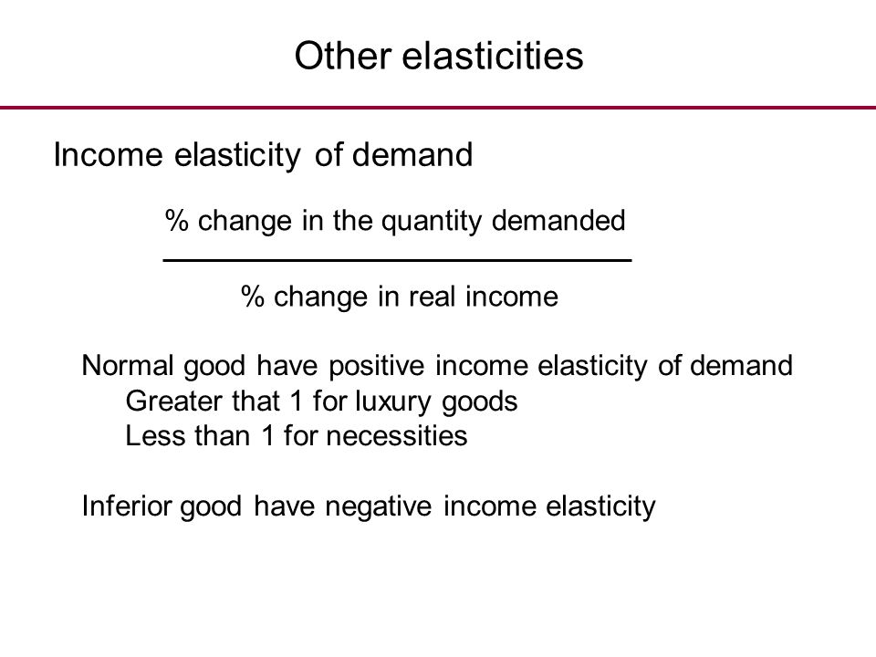 Other elasticities Income elasticity of demand