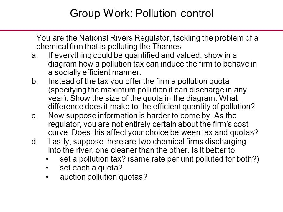 Group Work: Pollution control