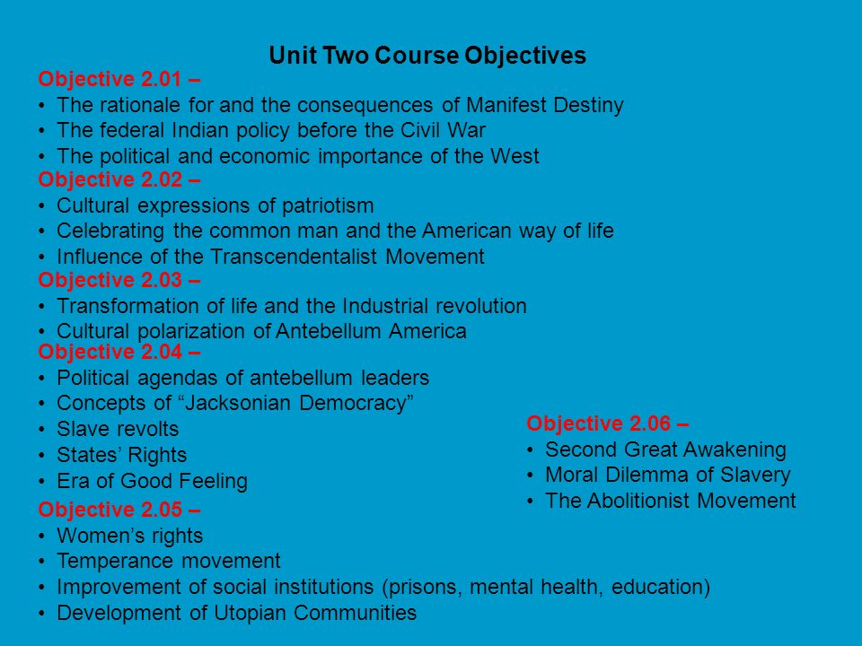Unit Two Course Objectives