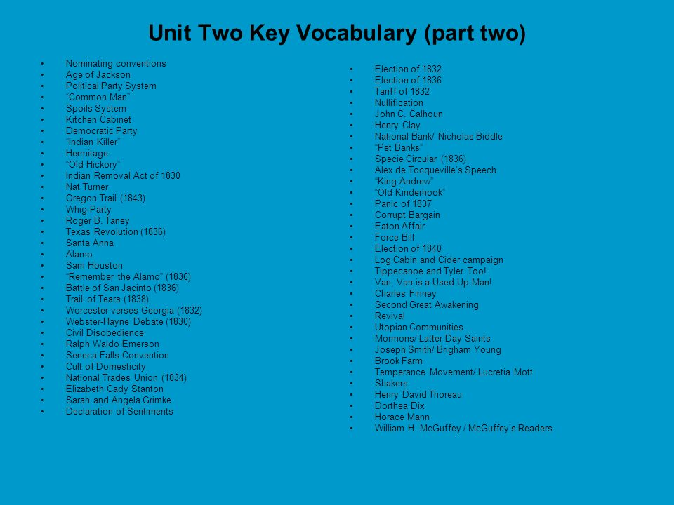 Unit Two Key Vocabulary (part two)