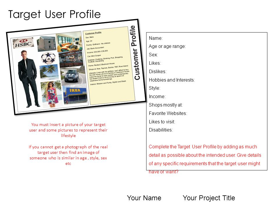 Target User Profile Your Name Your Project Title Name: