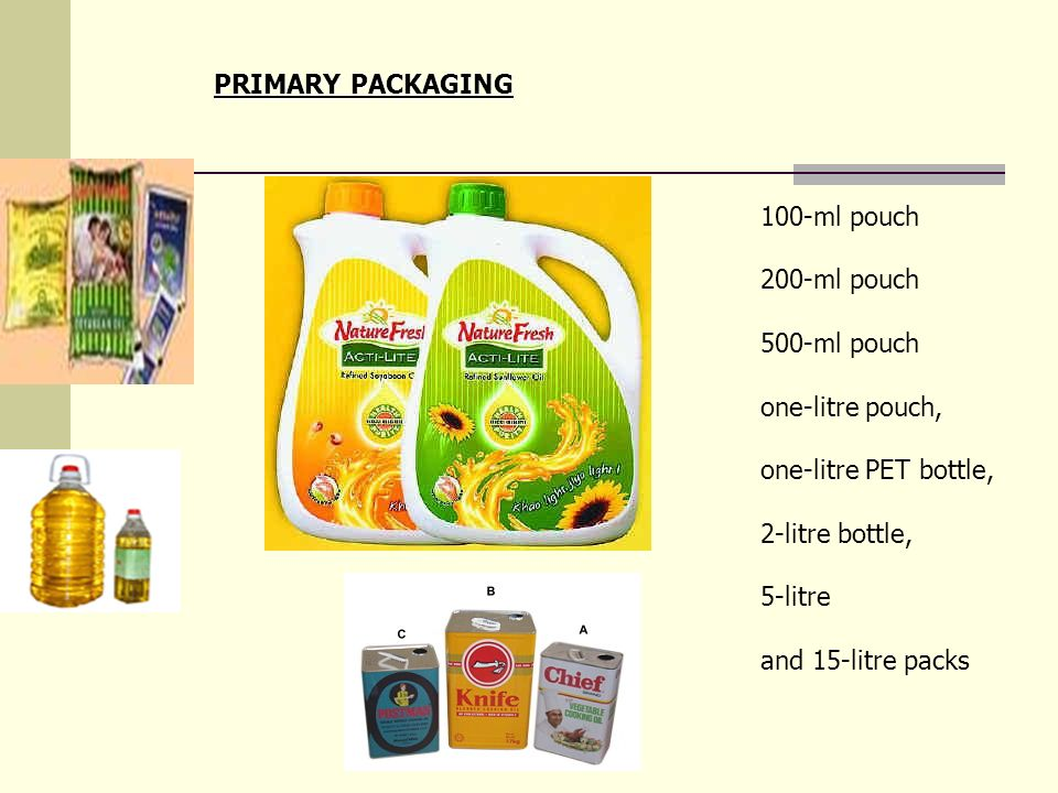 PRIMARY PACKAGING 100-ml pouch. 200-ml pouch. 500-ml pouch. one-litre pouch, one-litre PET bottle,