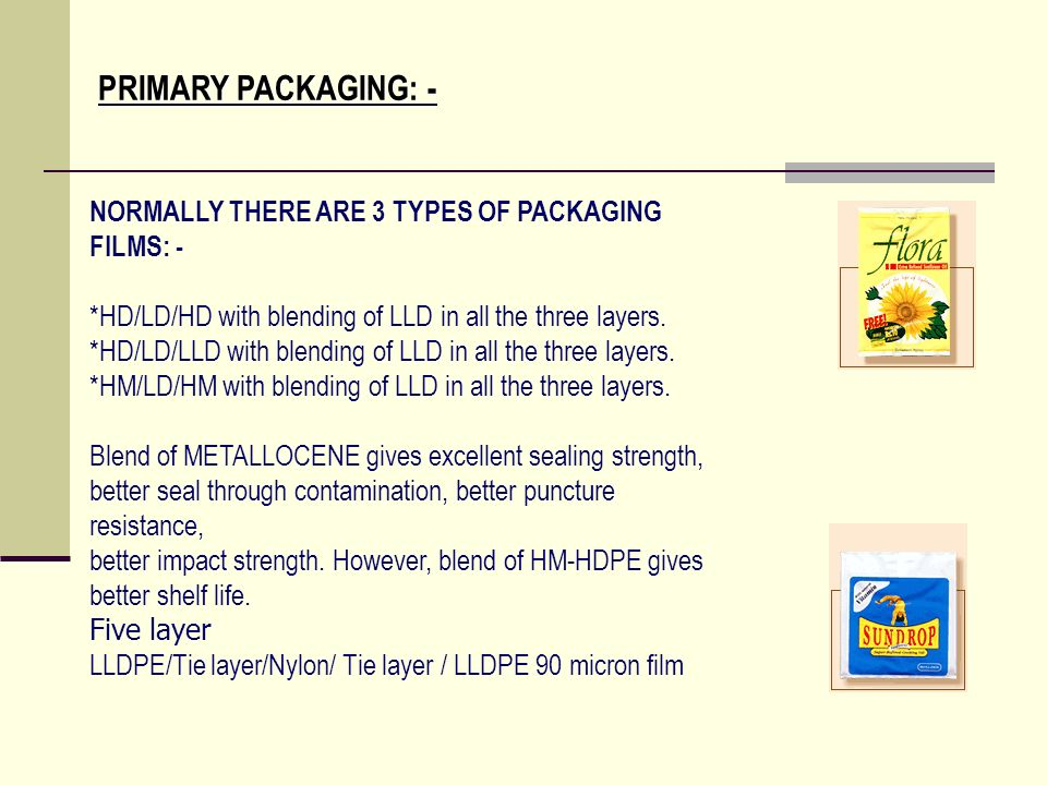 PRIMARY PACKAGING: - NORMALLY THERE ARE 3 TYPES OF PACKAGING FILMS: -