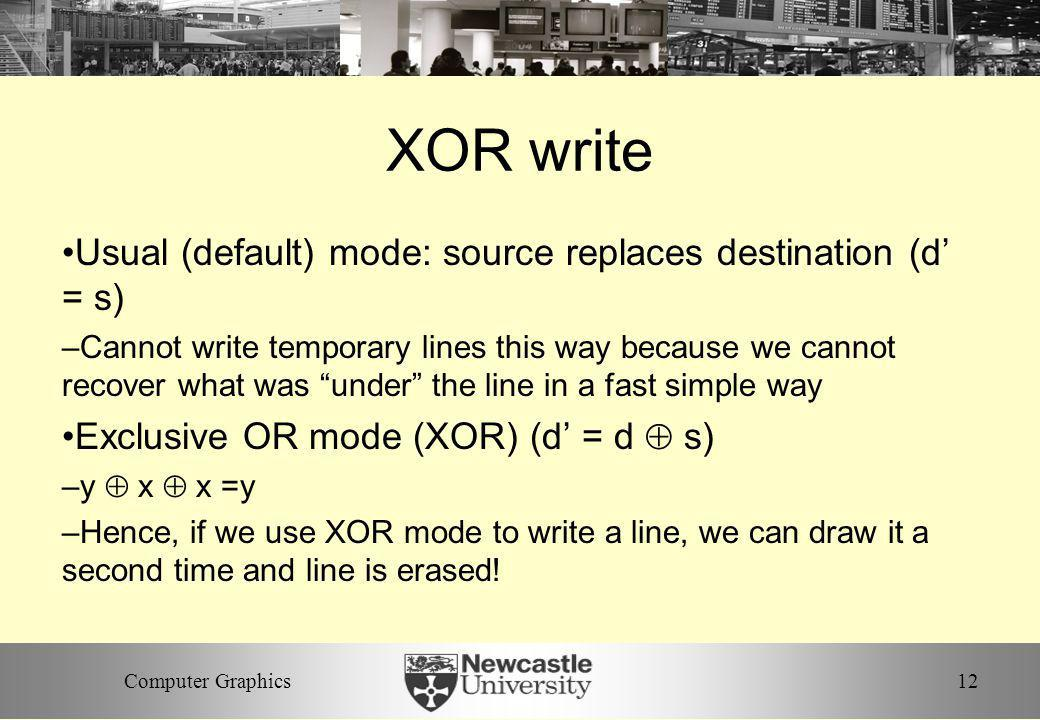 XOR write Usual (default) mode: source replaces destination (d' = s)