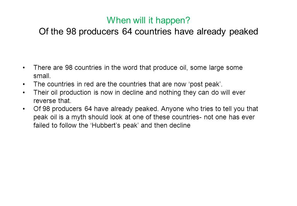 When will it happen Of the 98 producers 64 countries have already peaked