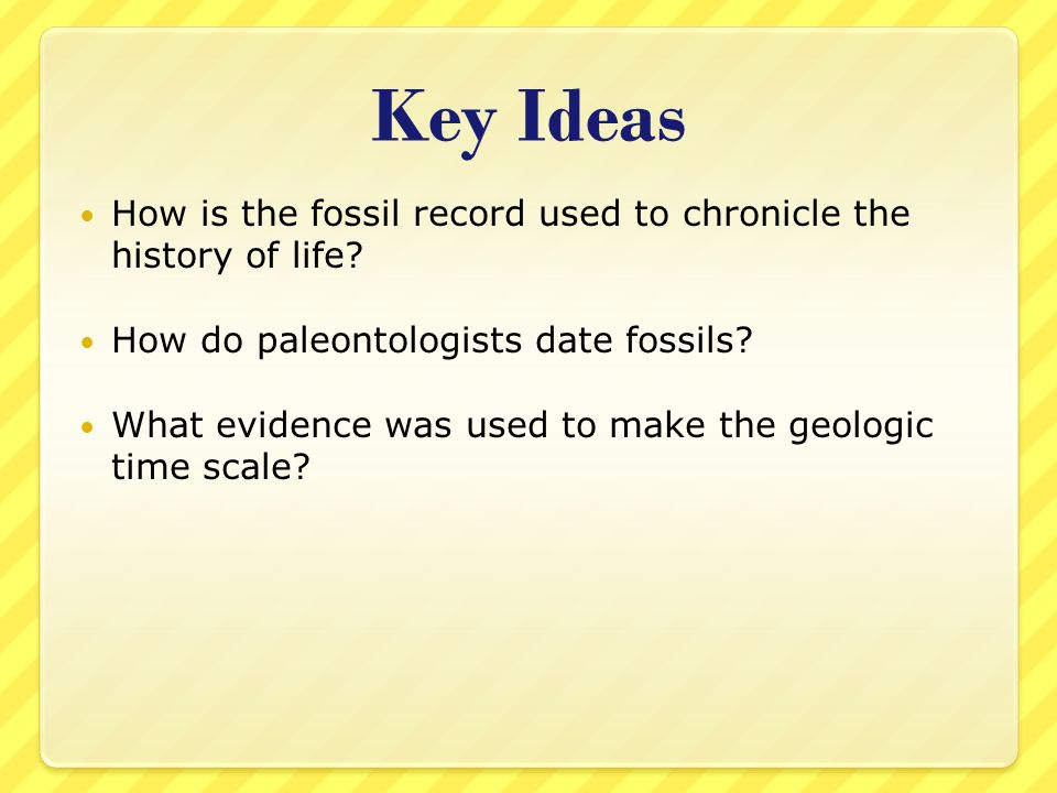 Key Ideas How is the fossil record used to chronicle the history of life How do paleontologists date fossils