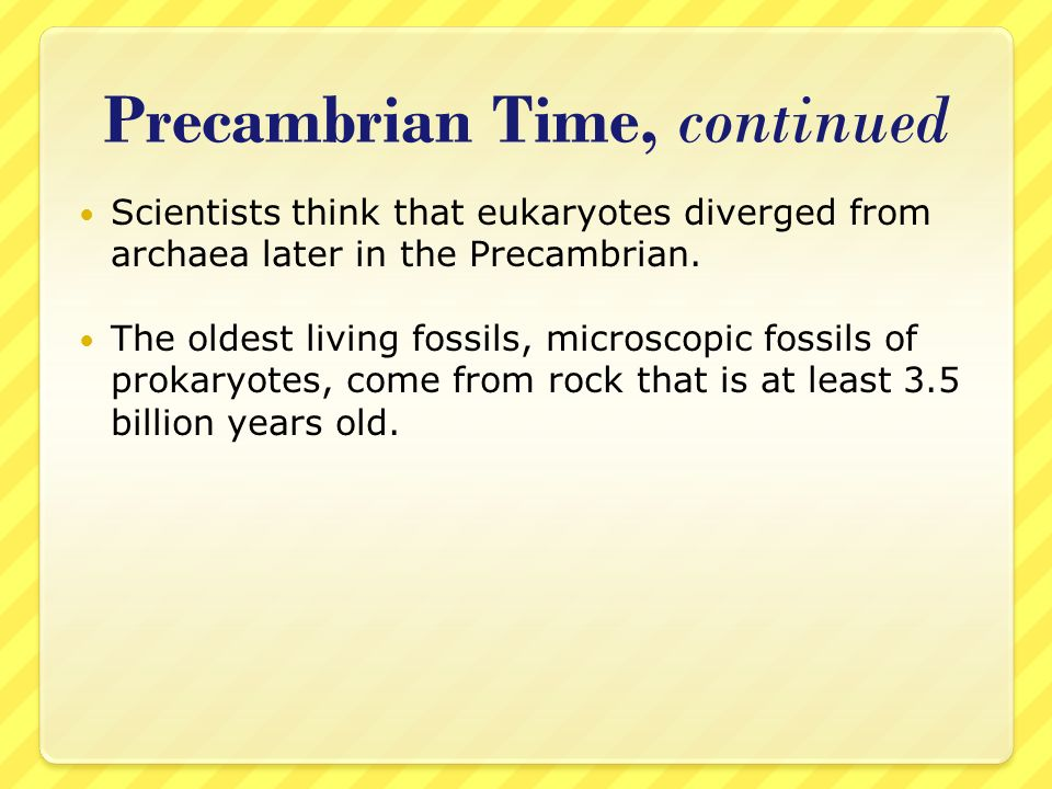 Precambrian Time, continued