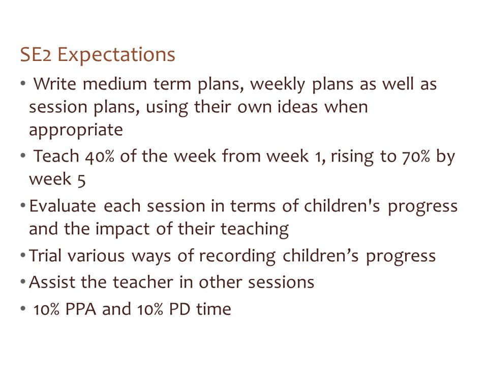 SE2 Expectations Write medium term plans, weekly plans as well as session plans, using their own ideas when appropriate.