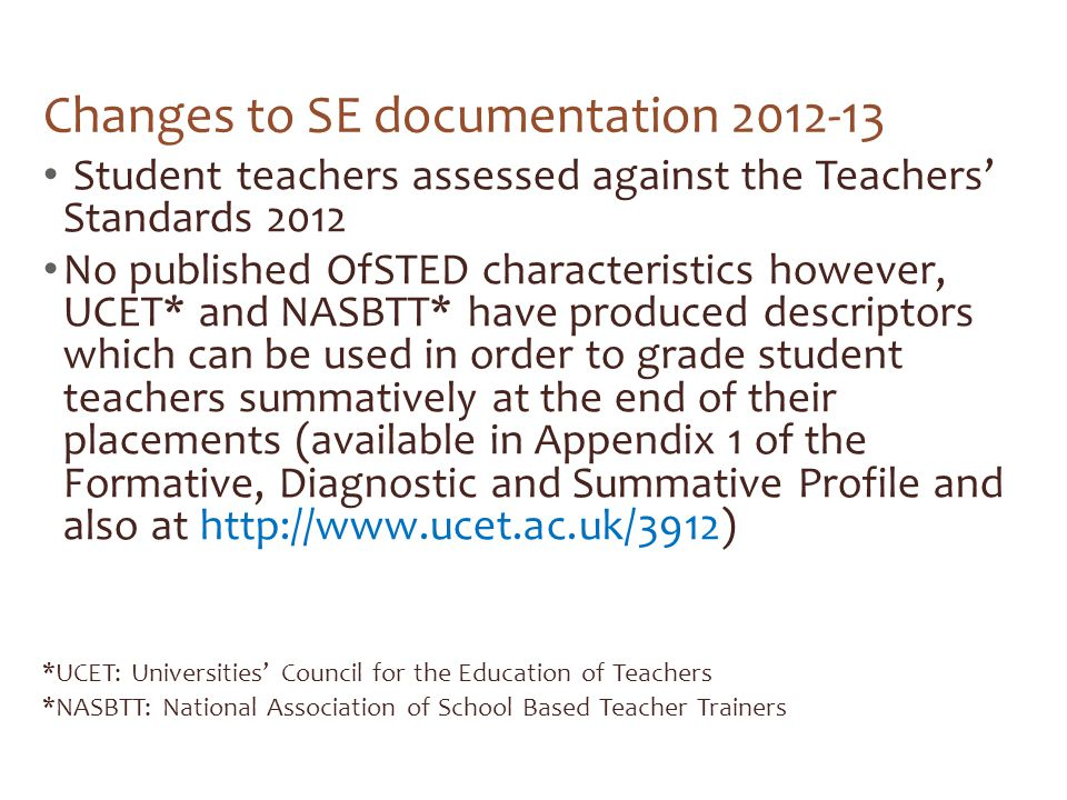 Changes to SE documentation 2012-13