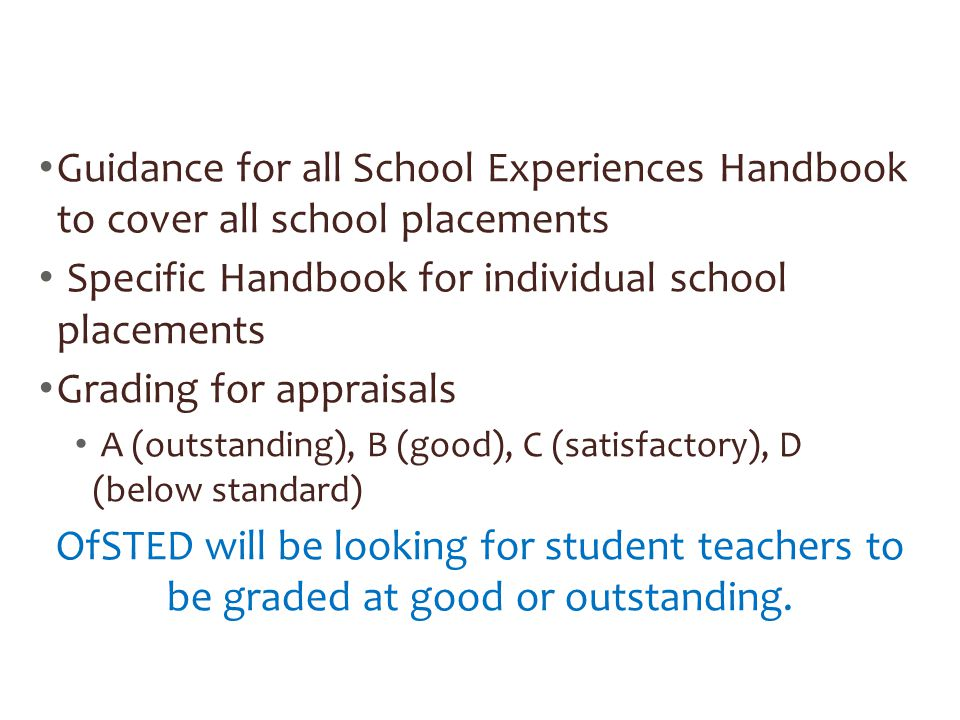 Specific Handbook for individual school placements