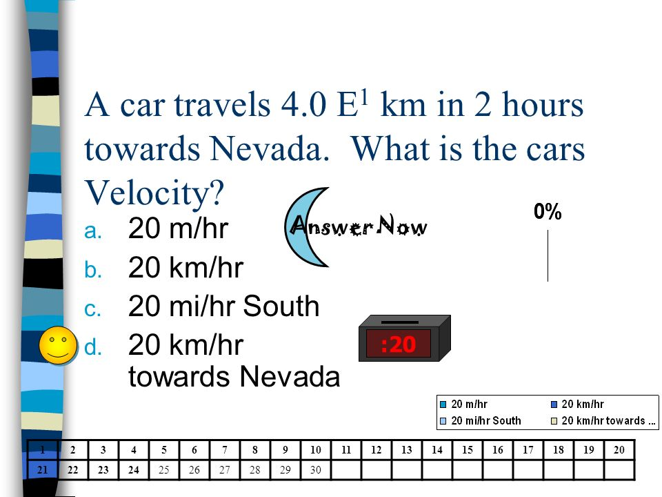 A car travels 4. 0 E1 km in 2 hours towards Nevada