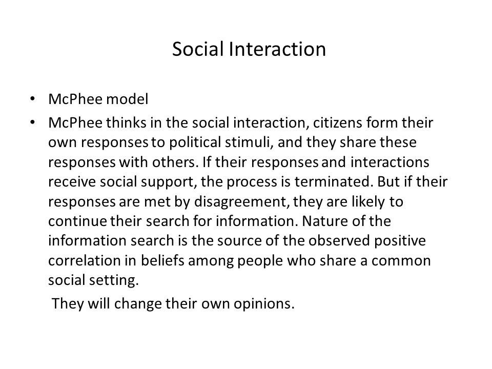 Social Interaction McPhee model