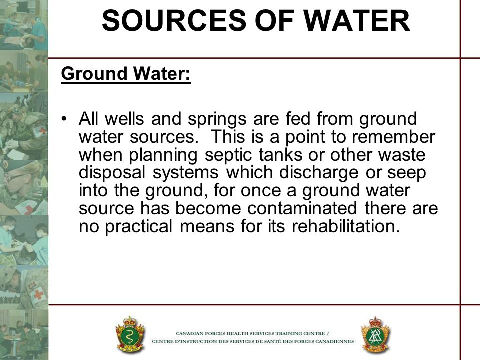 SOURCES OF WATER Ground Water:
