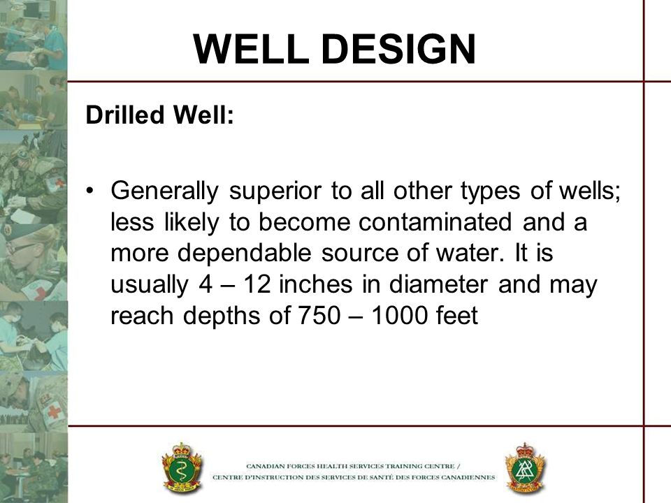 WELL DESIGN Drilled Well: