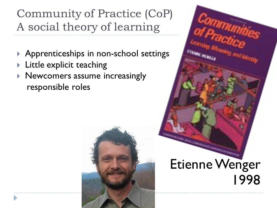 Community of Practice (CoP) A social theory of learning