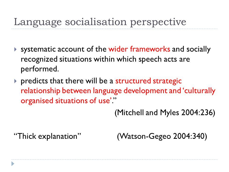 Language socialisation perspective