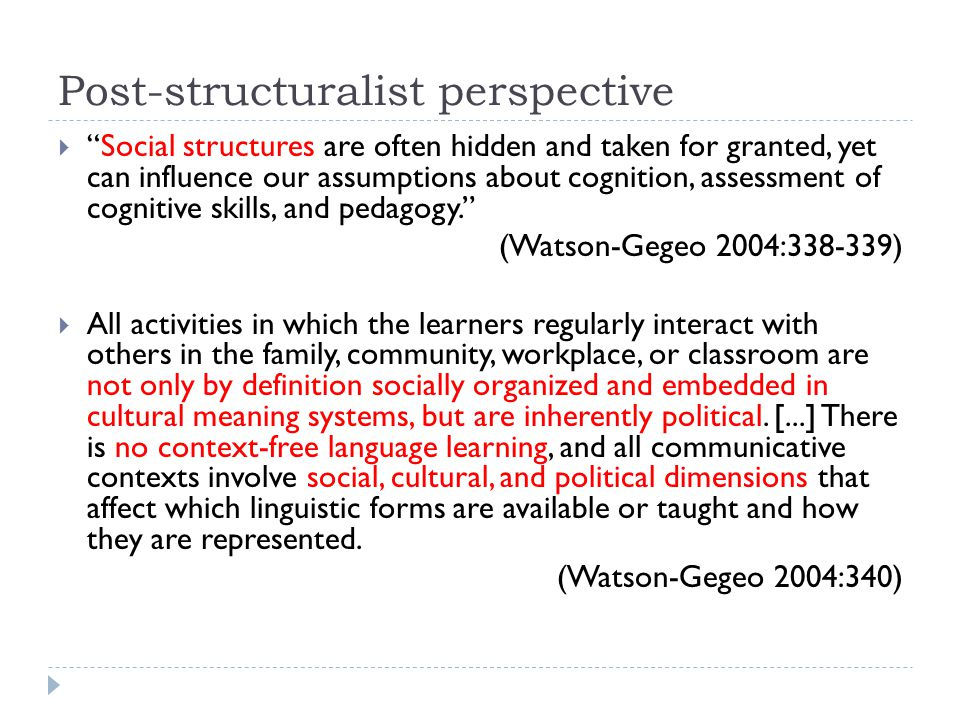 Post-structuralist perspective