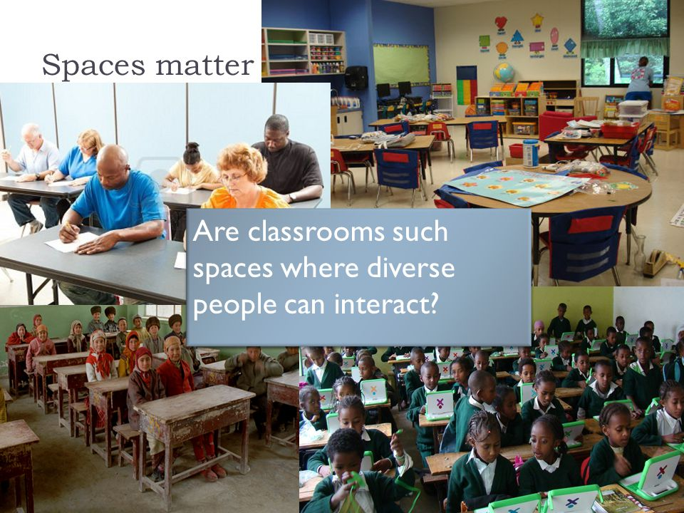 Spaces matter Are classrooms such spaces where diverse people can interact