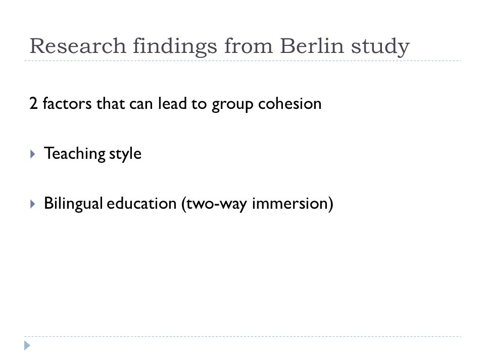 Research findings from Berlin study