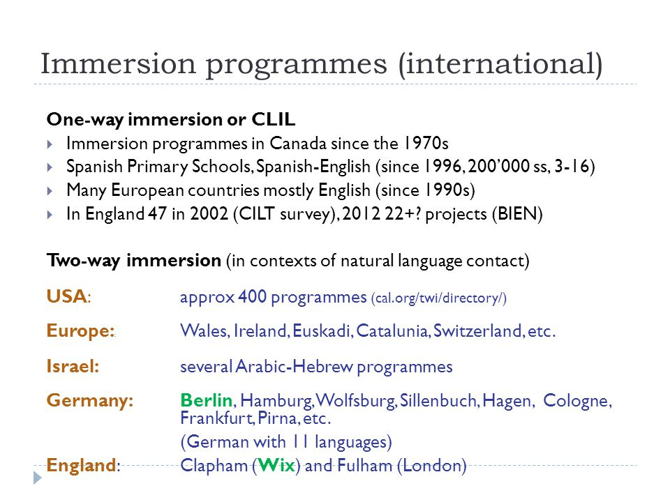 Immersion programmes (international)
