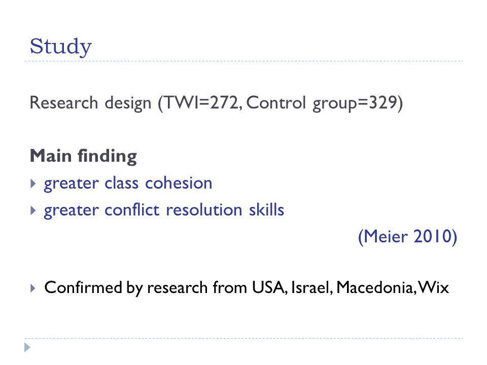 Study Research design (TWI=272, Control group=329) Main finding