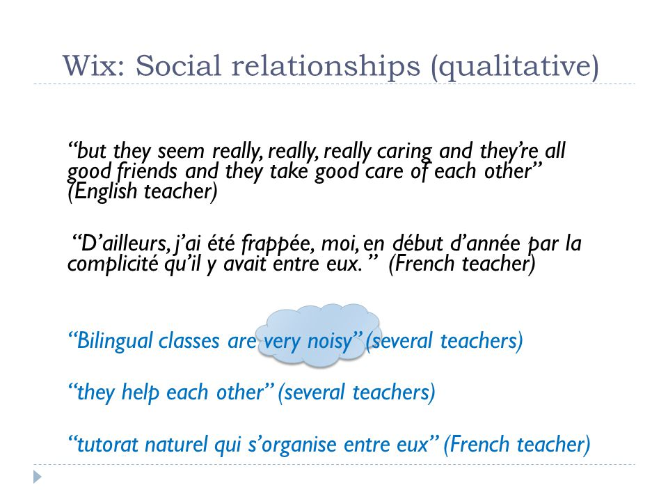 Wix: Social relationships (qualitative)