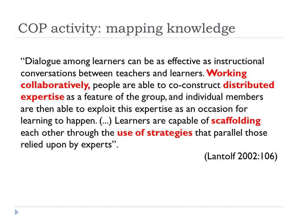 COP activity: mapping knowledge