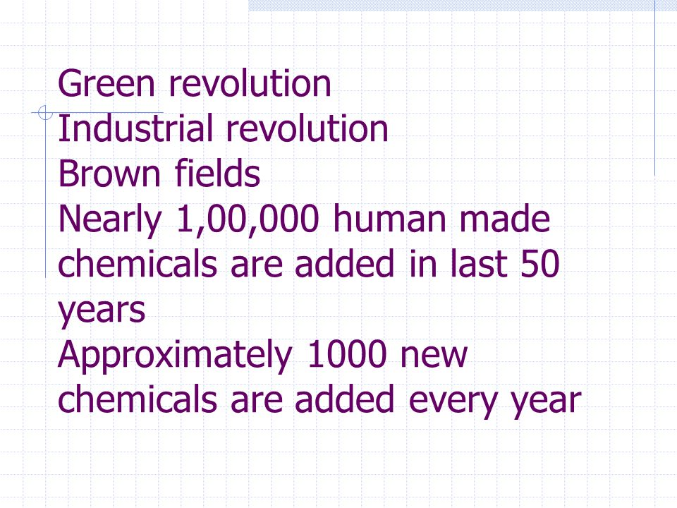 Green revolution Industrial revolution Brown fields Nearly 1,00,000 human made chemicals are added in last 50 years Approximately 1000 new chemicals are added every year