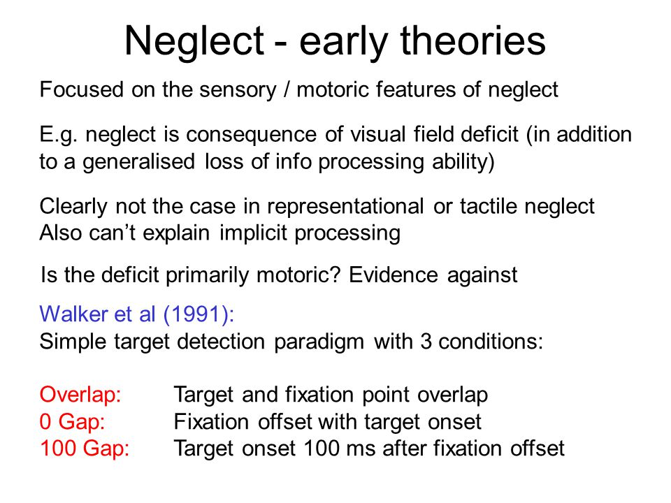 Neglect - early theories