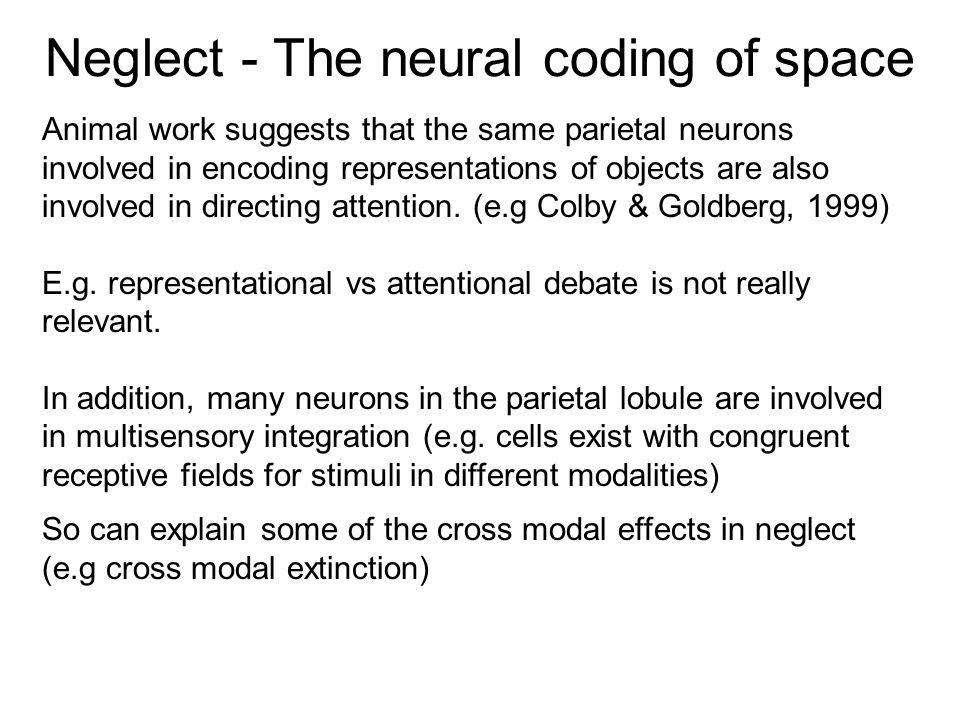 Neglect - The neural coding of space