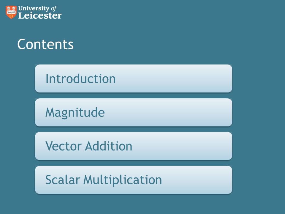 Contents Introduction Magnitude Vector Addition Scalar Multiplication