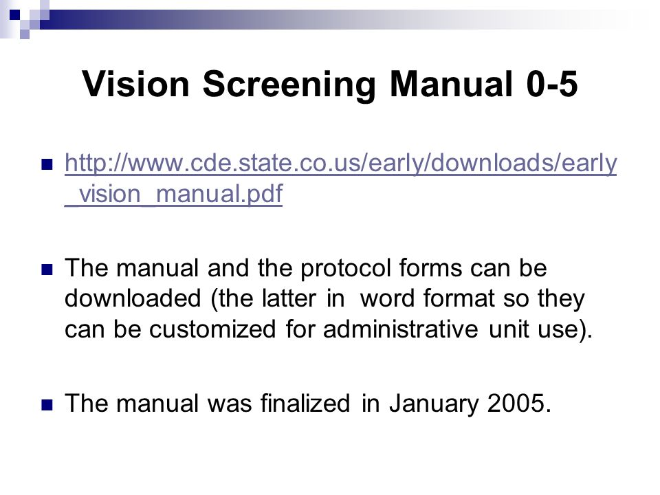 Vision Screening Manual 0-5