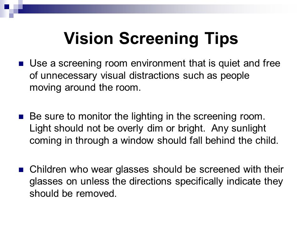 Vision Screening Tips