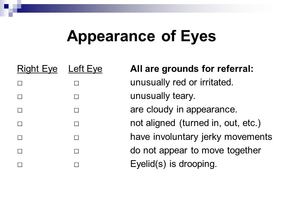Appearance of Eyes Right Eye Left Eye All are grounds for referral: