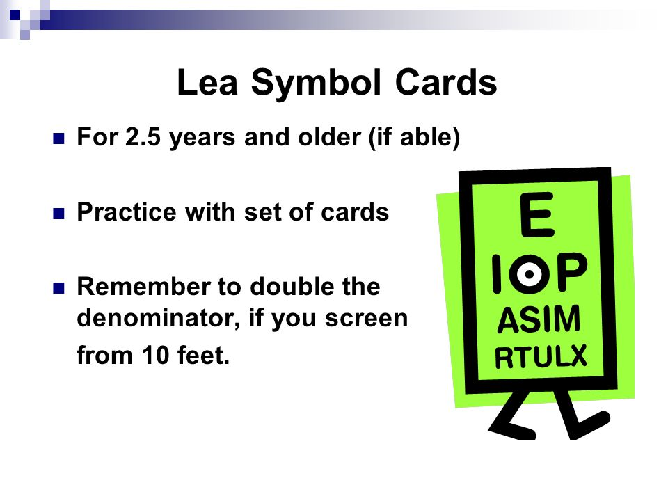 Lea Symbol Cards For 2.5 years and older (if able)