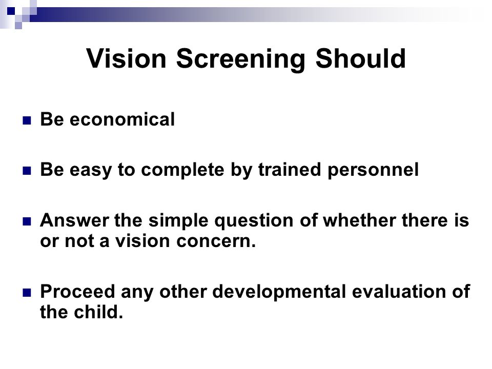 Vision Screening Should