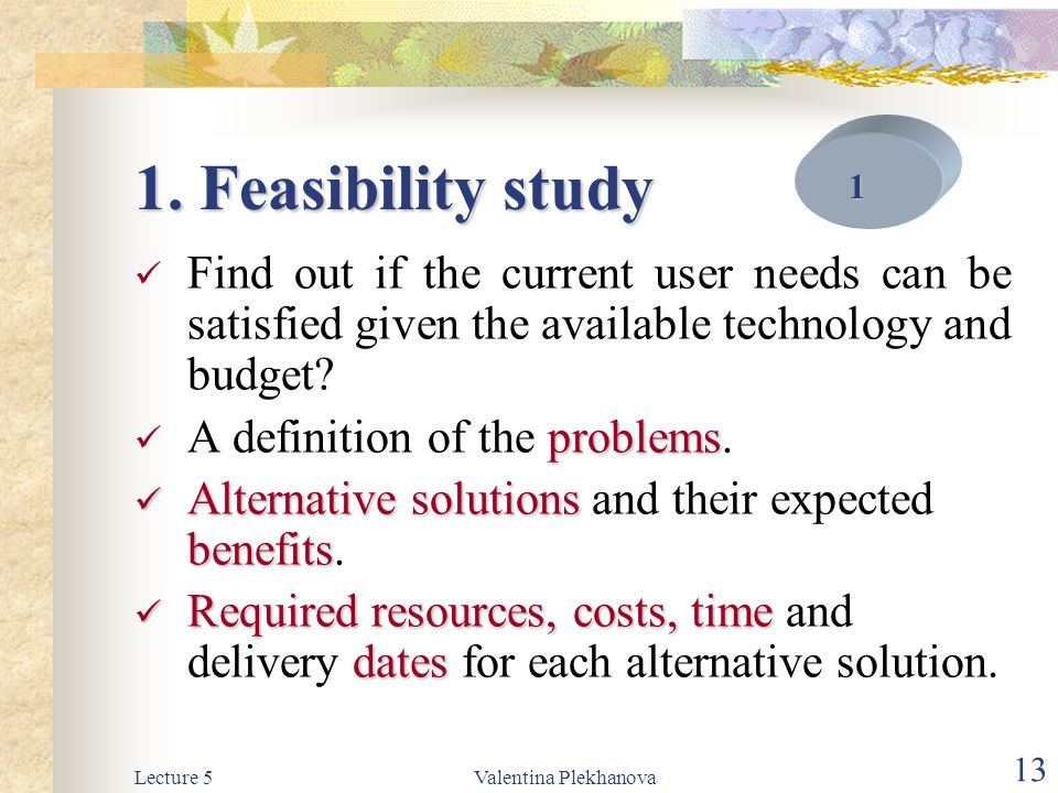 1. Feasibility study 1. Find out if the current user needs can be satisfied given the available technology and budget