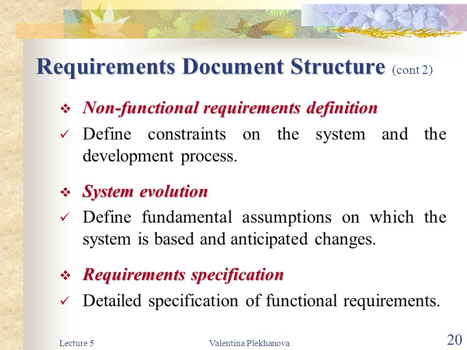 Requirements Document Structure (cont 2)