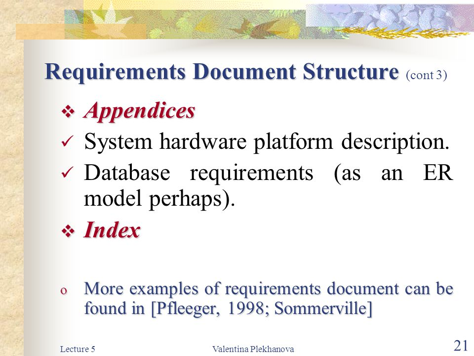 Requirements Document Structure (cont 3)