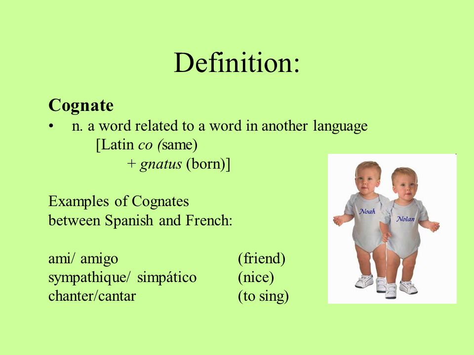Definition: Cognate n. a word related to a word in another language