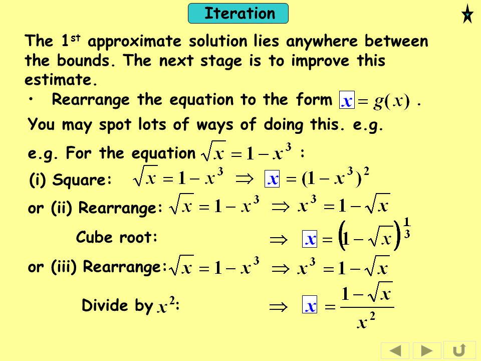 The 1st approximate solution lies anywhere between the bounds