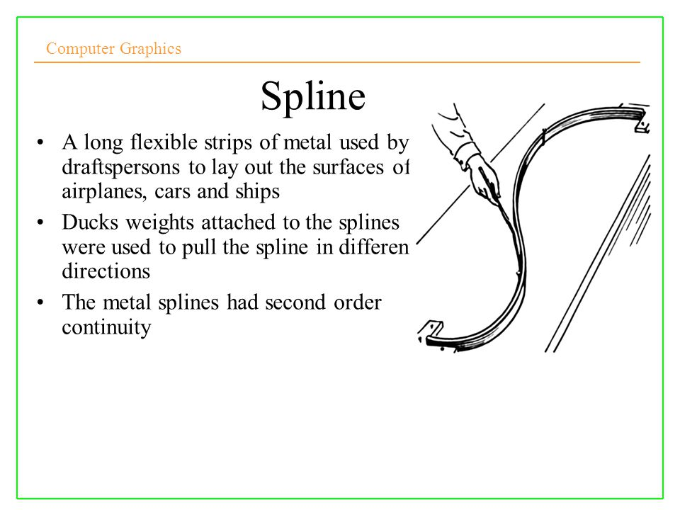 Spline A long flexible strips of metal used by draftspersons to lay out the surfaces of airplanes, cars and ships.