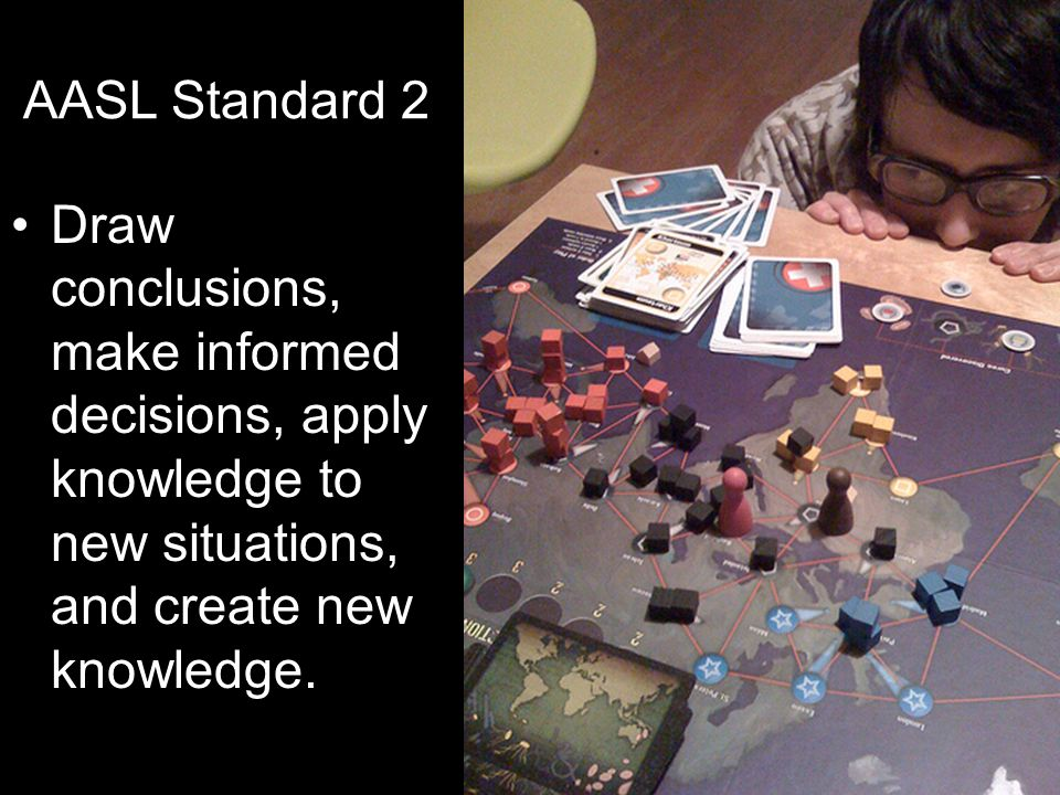AASL Standard 2 Draw conclusions, make informed decisions, apply knowledge to new situations, and create new knowledge.